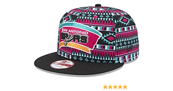 outlet store sale f721c b2c7c Amazon.com   New Era San Antonio Spurs Snapback Adjustable One Size Fits  All Hat NBA Authentic Snap Back All Over Print Cap - OSFA   Sports    Outdoors