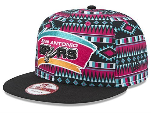 New Era San Antonio Spurs Snapback Adjustable One Size Fits All Hat NBA Authentic Snap Back All Over Print Cap – OSFA – DiZiSports Store