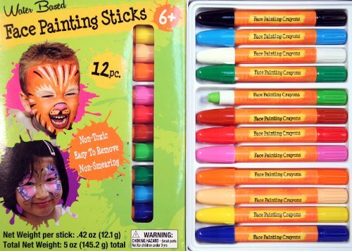 Face Painting Sticks 12 Color Set -Long Lasting Twist up Crayon Style Sticks -