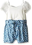 Bonnie Jean Blue, Little Girls' Knit to Chambray Floral Romper Dress, Blue, 6