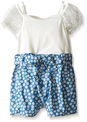 Bonnie Jean Blue, Little Girls' Knit to Chambray Floral Romper Dress, Blue, 6 by Bonnie Jean