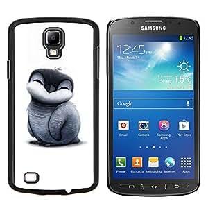KLONGSHOP // Cubierta de piel con cierre a presión Shell trasero duro de goma Protección Caso - Pingüino pájaro - Samsung Galaxy S4 Active i9295 //