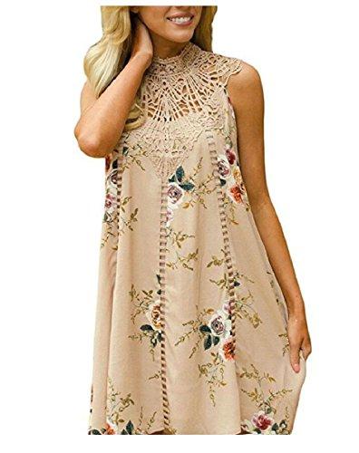 High Sleeveless Women's Jaycargogo Floral Dress Casual Patchwork Neck Loose Lace Khaki Mini wx1xqXfY