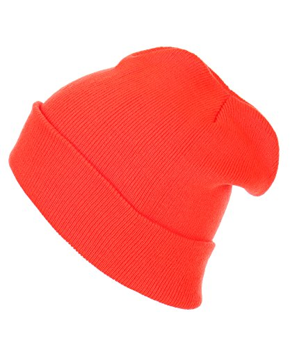 RufNTop Thick Plain knit Beanie Slouchy Cuff Toboggan Daily Hat Soft Unisex Solid Skull Cap(Orange One Size) (Solid Womens Beanie)