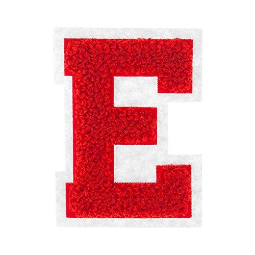 E - Red on White - 2.5 Inch Heat Seal Chenille Varsity Letter