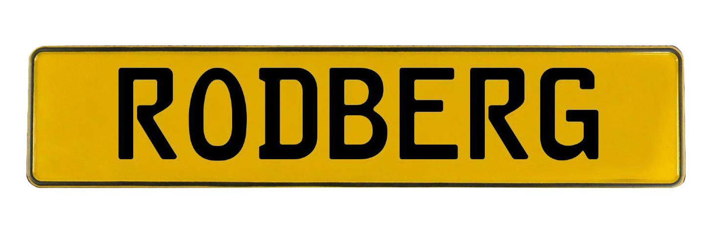 Vintage Parts 746028 Wall Art Rodberg Yellow Stamped Aluminum Street Sign Mancave