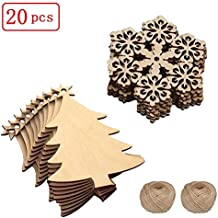 20 Pieces - Wood Christmas Tree Blanks Wooden Tree Embellishments,Unfinished Wooden Christmas Tree snowflake Blanks Cutouts Ornaments to Paint Holiday Party Decoration