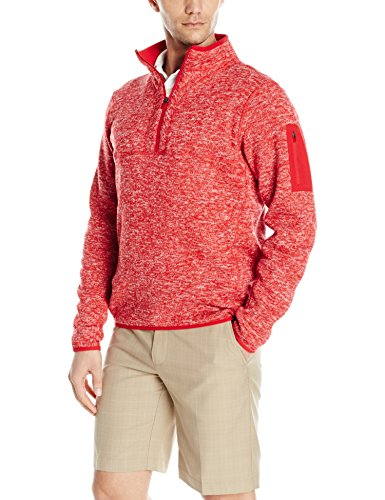 Antigua Red Jacket - Antigua Men's Fortune Jacket, Dark Red/Heather, X-Large