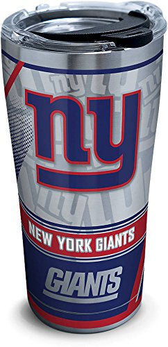 Tervis 1266670 NFL New York Giants Edge Stainless Steel Tumbler with Clear and Black Hammer Lid 20oz, Silver
