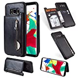 Zipper Wallet Case for Samsung Galaxy S8,Shinyzone Samsung Galaxy S8 Case with Money Pocket [One Magnetic Buckle] Premium Vintage Leather PU Flip Back Cover-Black