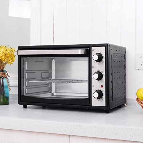 Costway 6-Slice 32L Countertop Toaster Oven Broiler with Drip Pan, 1500W Electric Toaster Oven Pizza Oven