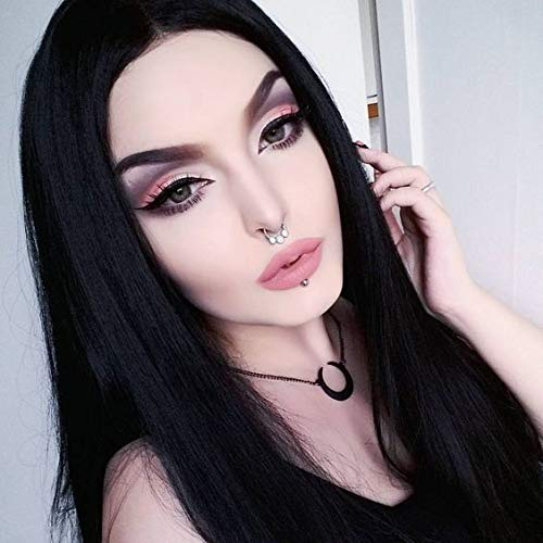 Widows Peak Black Wig - Imstyle Black Long Wig Natural Silky Straight Lace Front Wigs For Women Black Cosplay Synthetic Wig 30 Inch …