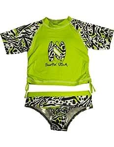 Rosa Platinum–Bañador de niña 2pieza, Cal, color negro 33442–18meses Color: Lima Negro Leopard Tamaño: 18Meses (Baby/Babe/Infant–Little Ones)