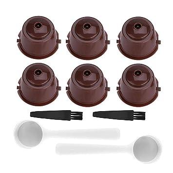 AUOKER Auker cápsulas de café Reutilizables rellenables para máquina Nescafe Dolce Gusto, 6 Tazas de
