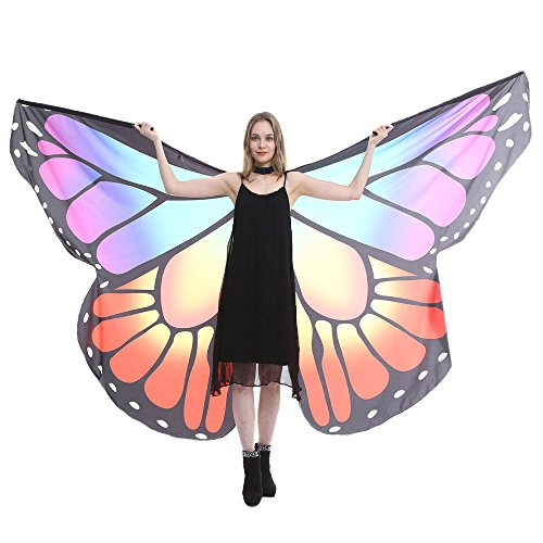 POQOQ Halloween Party Prop Soft Fabric Butterfly Wings Shawl Fairy Ladies Nymph Pixie Costume Accessory 260150CM Purple ()