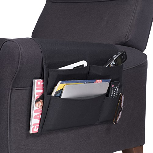 Wallniture Remote Control Holder - Ipad Gadget Caddy Pocket Organizer for Sofa Armchair -Bedside Bunk Bed Storage Black