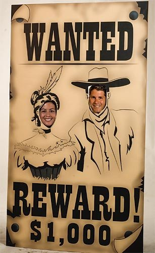Western Cowboy Wanted Poster Stand-in Standup Photo Booth Prop Background Backdrop Party Decoration Decor Scene Setter Cardboard Cutout -