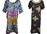 Mogul Interior 2pc Womens Boho Caftan Batik Embroidered Tie-Dye Dresses L