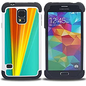 "Pulsar ( Naranja Líneas Blue Gold Vertical"" ) SAMSUNG Galaxy S5 V / i9600 / SM-G900 V SM-G900 híbrida Heavy Duty Impact pesado deber de protección a los choques caso Carcasa de parachoques [Ne"