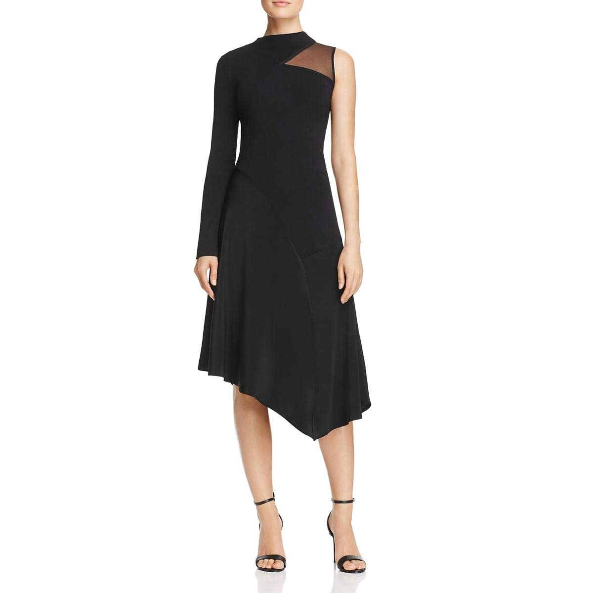 Black Onyx Nic + Zoe Womens One Shoulder Evening Cocktail Dress
