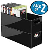 mDesign Household Storage Bin for DVDs, PS4 and Xbox Video Games - Pack of 2, Large, Black