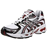 ASICS Men's GEL-Nimbus 11 Running Shoe,White/Black/Red,12 D US