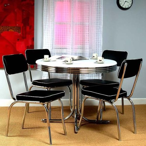 5-Piece Retro Style Dining Set - White/Black (White Table / Black Chairs) (Sizes Vary)