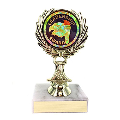 Customizable 5-1/4 Inch Leadership Award Trophy on White Marble Base, includes Personalization
