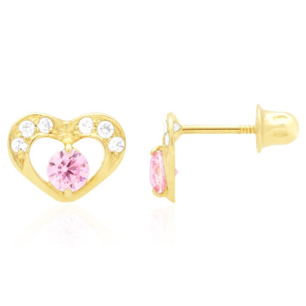 Yellow Gold 14k Yellow Gold White Gold CZ Birthstone Heart Screw Back Earrings Sapphire