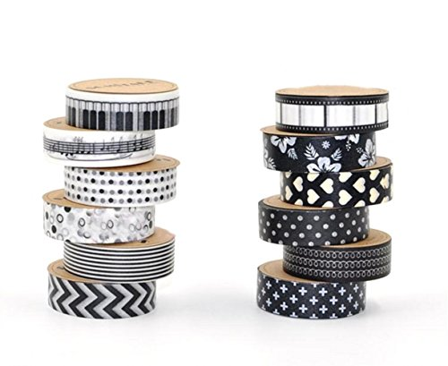EVINIS Washi Tape , Diy 15mm × 10m Decorative Masking Tape, Deco Masking Japanese Paper Washi Tape for Crafts, Scrapbooks, Day Planners, Decorating and Design, Black and White, Set of 12 Rolls ()