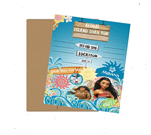 Aloha! Luau Themed Party Supply Invitations - Featuring Moana and Friends -