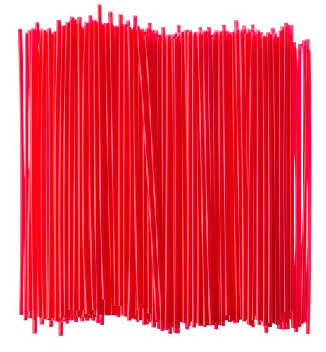 Crystalware, Large Plastic Stir Straw, Sip Stirrer, For Coffee and Cocktail, 8 Inches Long, 500/Box (Red)