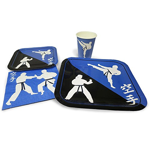 - Blue Orchards Karate Standard Party Packs (65+ Pieces for 16 Guests!), Karate Party Supplies, Martial Arts Party