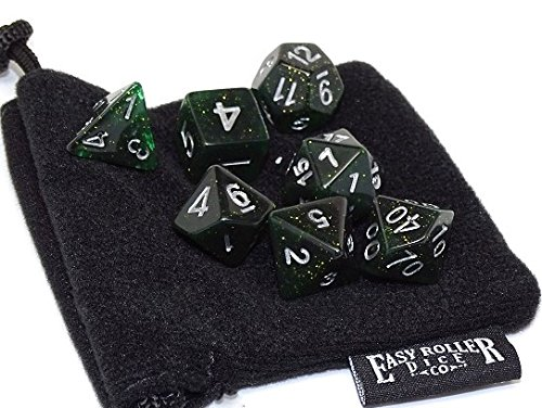 (Dark Sparkle Polyhedral Dice Set | 7 Piece Matching Set | PRISTINE Edition | FREE Carrying Bag | Hand Checked)