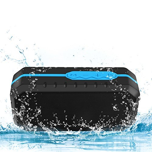 Ifecco Portable Bluetooth Speaker, Wireless Waterproof Shockproof Speaker with Build-in Microphone for Indoor and Outdoor (Blue + Black)