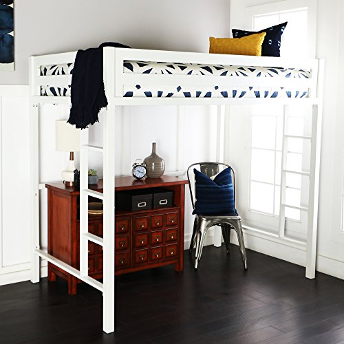 Home Accent Furnishings New Premium Deluxe Twin Metal Loft Bed in White Color from Home Accent Furnishings