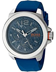 BOSS Orange Mens NEW YORK Quartz Stainless Steel and Silicone Casual Watch, Color:Blue (Model: 1513348)
