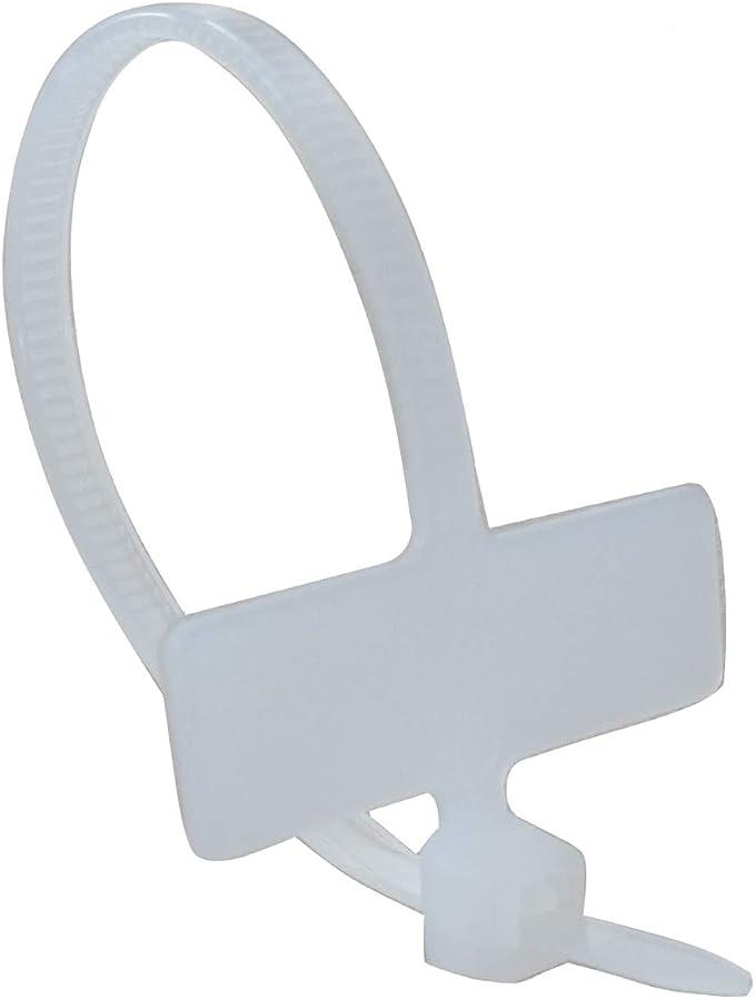 300 Collier de Serrage 100mm 2.5mm Fixe-Tube Cables Faisceau Blanc avec Plaque Platine didentification C41921 AERZETIX
