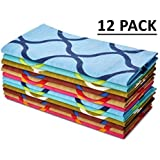 Cotton Craft, Moroccan Tile, Soft Premium Cotton 20x20-Inch. Napkins, Assorted Color (Pack of 12)