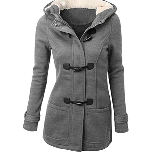 Zhhlinyuan Ropa populares Womens Cotton Horns Buckle Coat Long Hooded Wool Blended Winter Jacket Plus Size Light Gray