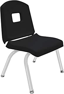"""product image for Creative Colors 1-Pack 12"""" Kids Preschool Stackable Split Bucket Chair in Black with Platinum Silver Frame and Self Leveling Nickel Glide"""