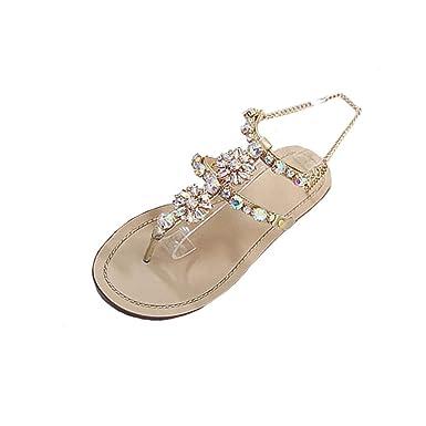 33265478d7d30e Challeng Sandales Femmes Plates,Chaussures Femme,Escarpins Femme,Womens  Summer Bohême Flat Strass Chaîne Sandales T-Sangle Chaussures  Confortables,Or,Blanc: ...