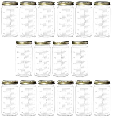 (Nakpunar 16 pcs 8 oz Glass Measurement Paragon Jars with Gold Lids - Wide Mouth Bottle (16, 8 oz Measurement (Gold)))