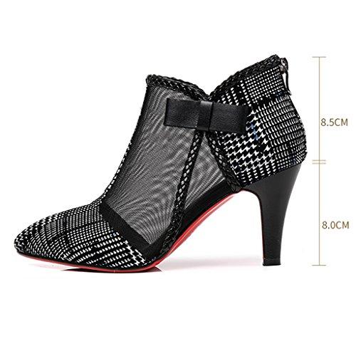 Colore Sandali Primavera Zcjb Shoe Stivali Punta Heel E Alti 38 Colorblock Net Yarn Estate Tacchi Fine Donna A Da Boots Scarpe 36 qHrrIdw