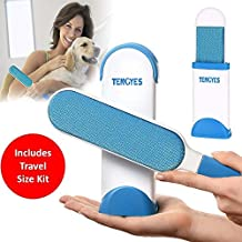 Pet Fur Lint Remover Brush, Lint Roller with Self-Cleaning Brush for Dog Cat Pets Hair Removes from Clothes & Furniture Travel Size- As Seen On TV