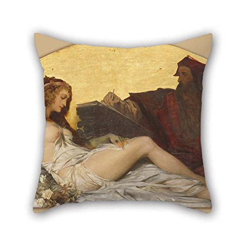 christmas-gift Pillowcover of Oil Painting Hans Makart - Leonardo Da Vinci 16 X 16 Inches / 40 by 40 cm Best Fit for Gril Friend Monther Girls Teens Bar Seat Floor 2 Sides
