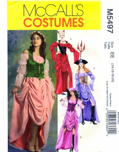 [McCall's 5497 Costume Sewing Pattern Full Figure Gypsy Devil Pirate Dress Size 14 - 16 - 18 - 20] (Peasant Halloween Costumes)