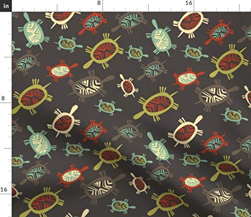 Turtle Fabric - Petroglyph Turtles Chocolate Tribal Mod Geometric Brown Green Orange Lime Print on Fabric by the Yard - Basketweave Cotton Canvas for Upholstery Home Decor Bottomweight Apparel