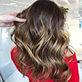 Sunny Flat Tip Fusion Human Hair Extentions-14inch Balayage Brown fading to Caramel Blonde to Dark Brown Flat Hair Extensions-1g/strands 50g/pack