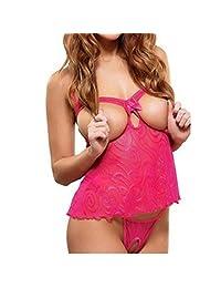 Rokou Sexy Women's Halterneck Open Bra Crotchless Babydoll Lingerie Underwear
